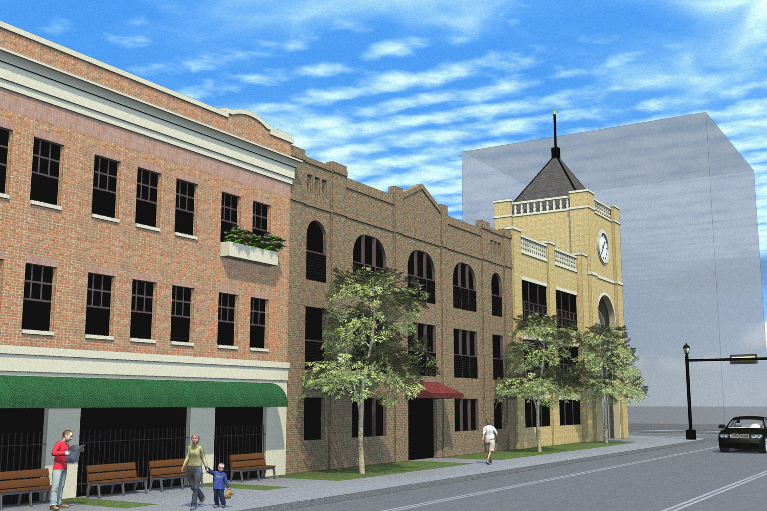 new urbanist parking garage design - east texas commercial architect - mixed use architect tyler - butler architectural group