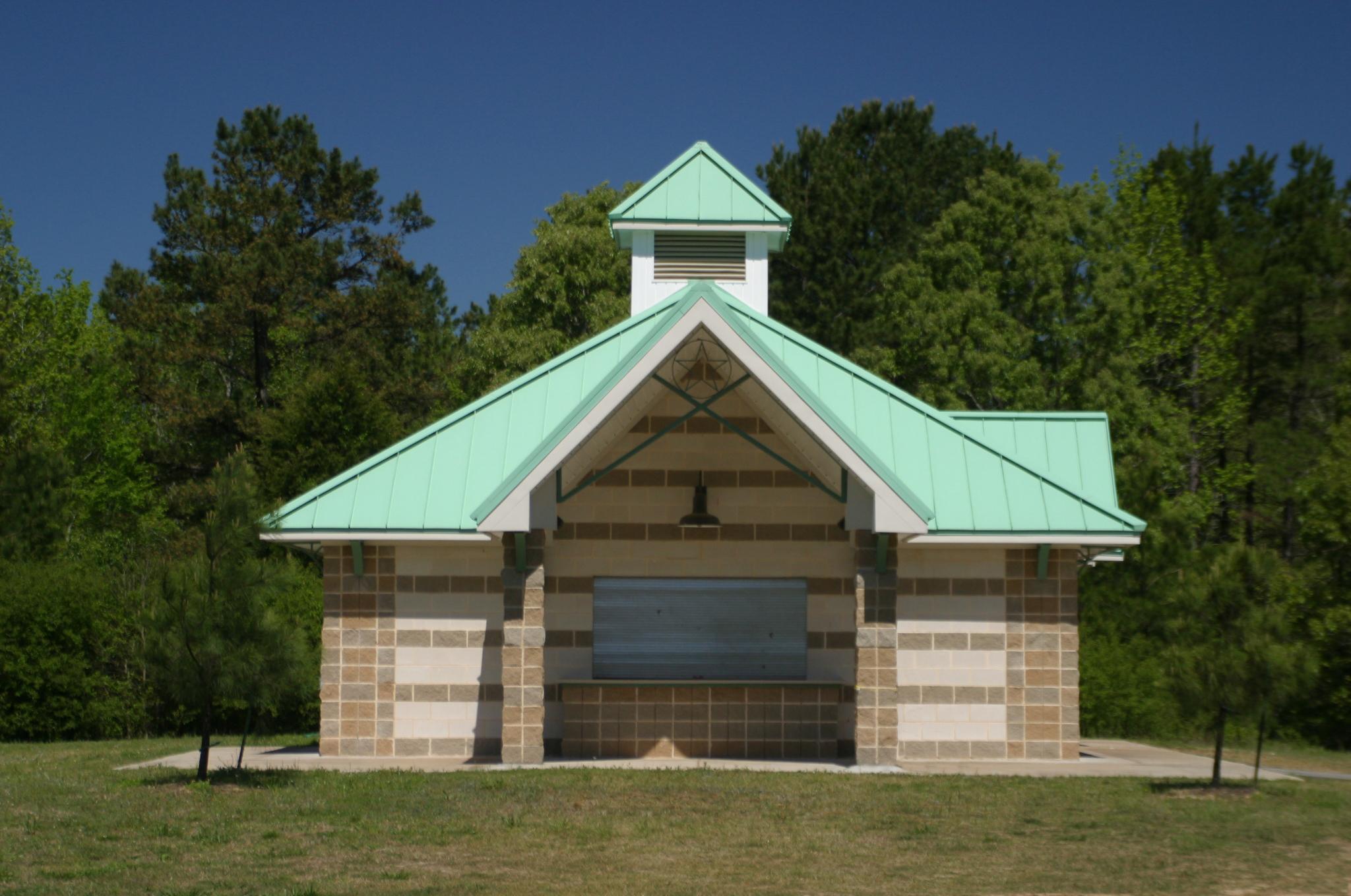 faulkner park amenity building - lindale texas park structure - public park structure - butler architectural group
