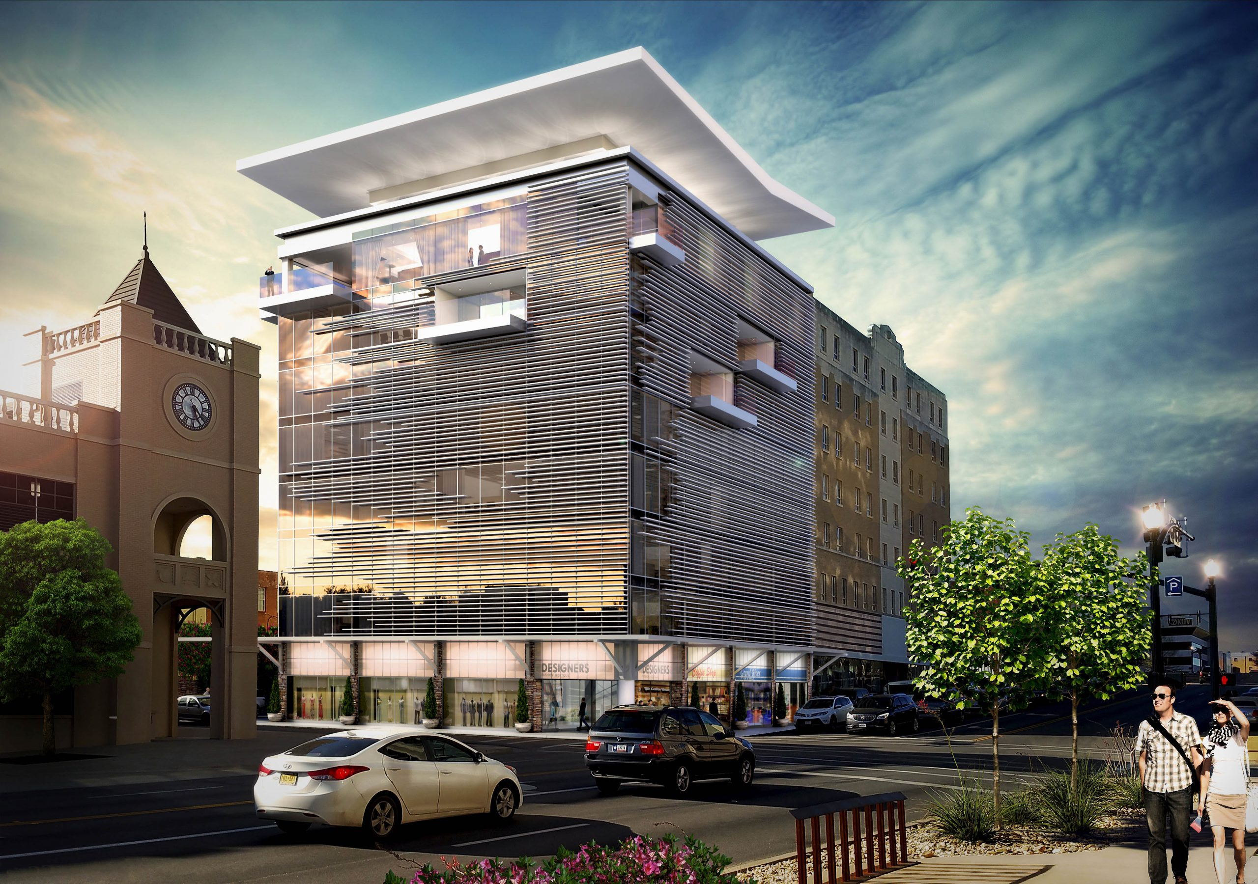 concept for downtown tyler mixed use building - mixed use multi story building tyler texas - downtown tyler architect - butler architectural group